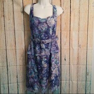 Badgley Mischka Dress Lace Purple Size 14